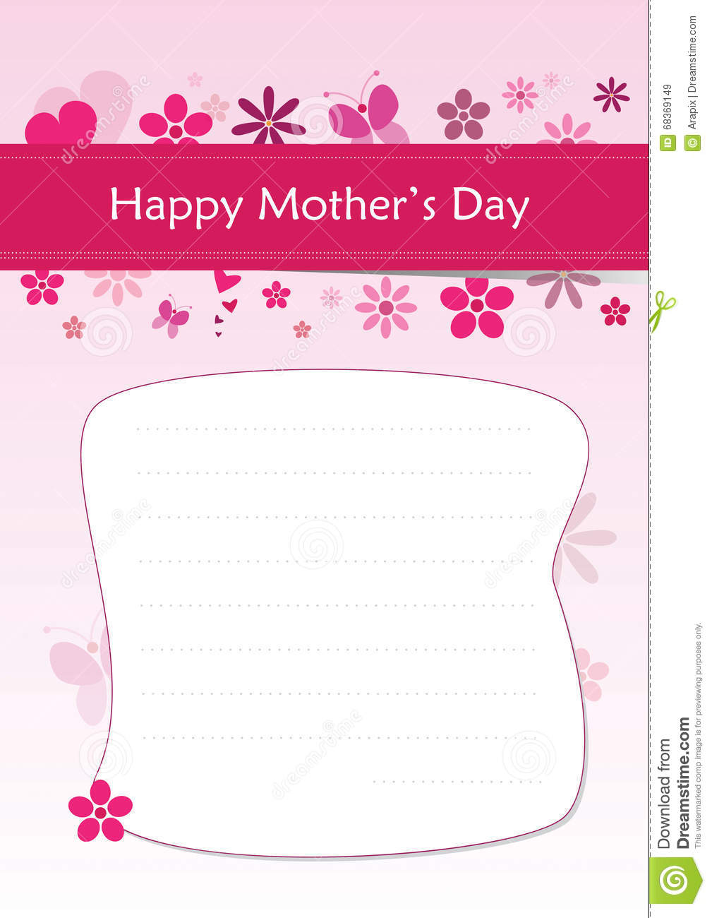 Happy MotherS Day  A Greeting Letter Stock Vector  Illustration