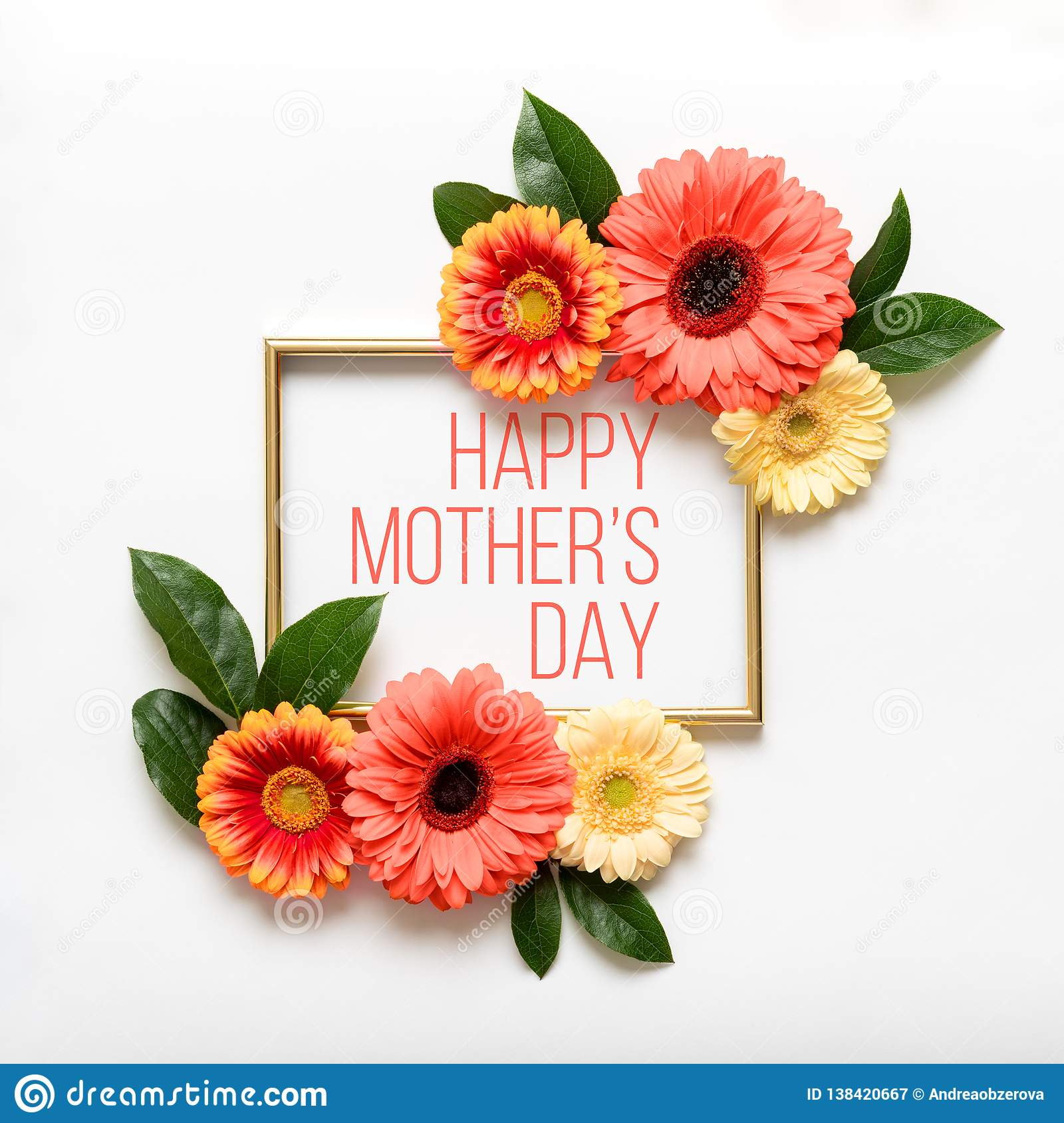 Happy Mother`s Day Living Coral Pantone Color Background. Flat lay greeting card with beautiful coral hue gerbera flowers.