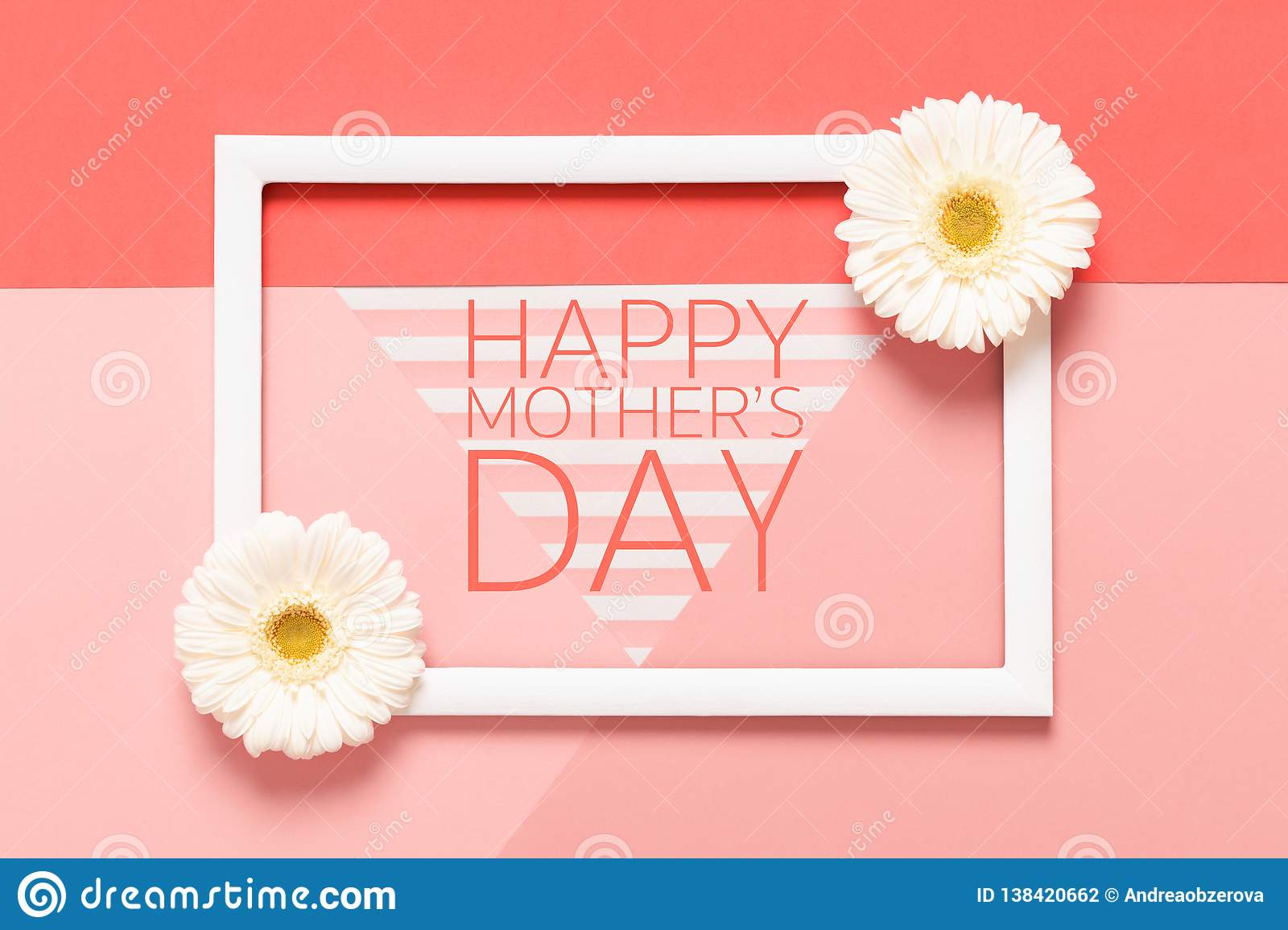 Happy Mother`s Day Living Coral Pantone Color Background. Flat lay mock up greeting card with beautiful gerbera flowers.