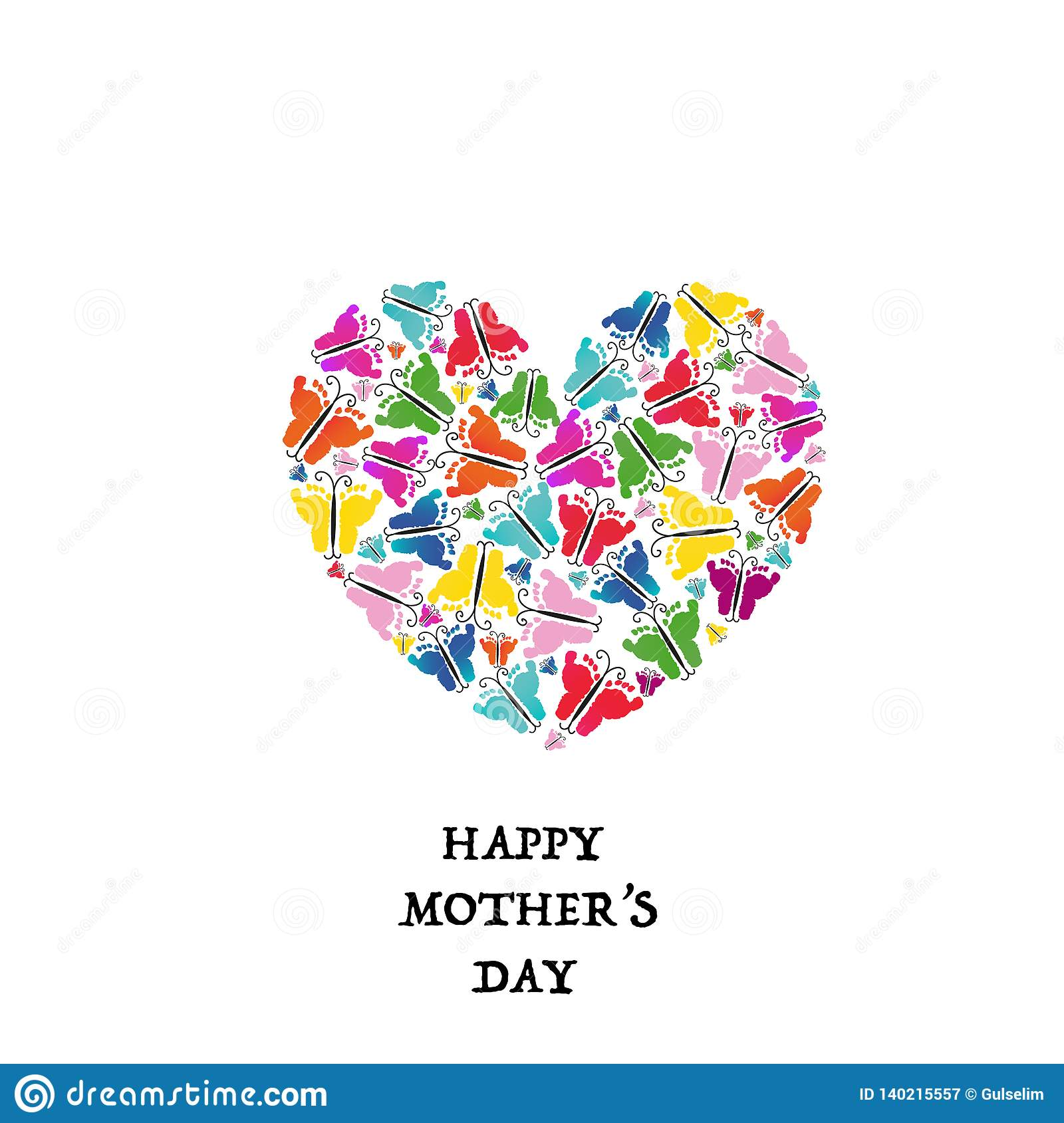 Happy Mother S Day Made Of Colorful Baby Hand Prints