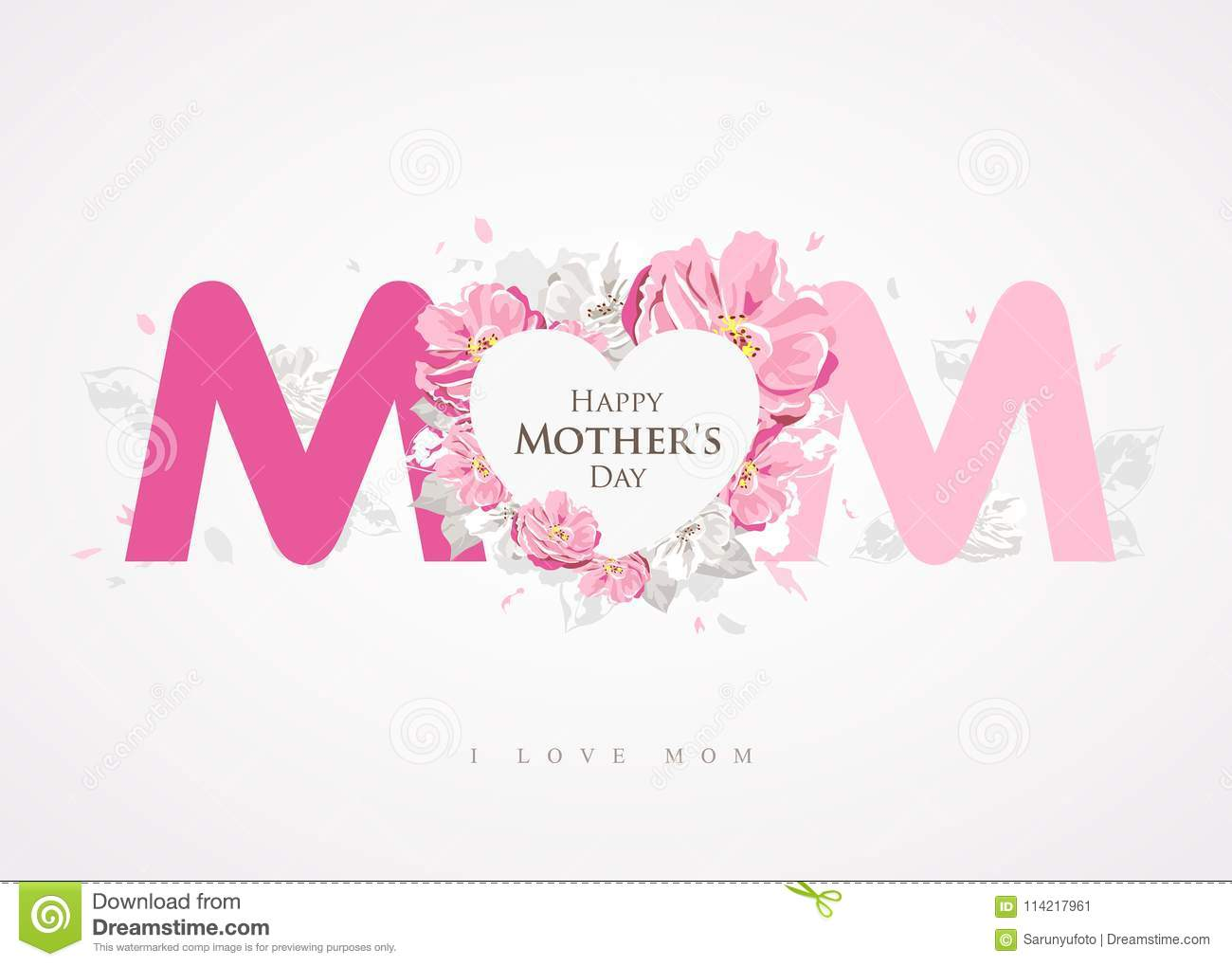 Happy Mothers Day Message Mom Background Greetings Card Stock