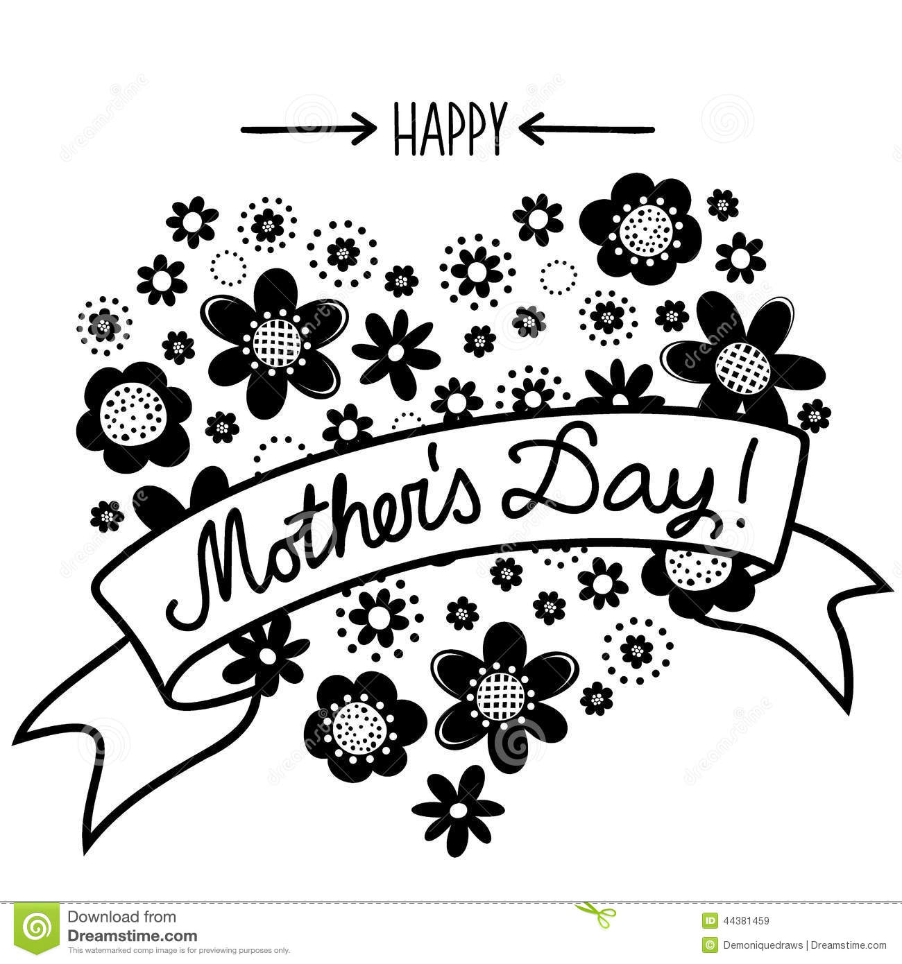 ... heart shape on white background with banner Happy Mother's Day card