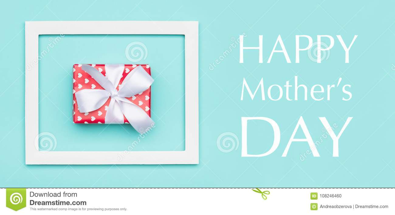 Happy Mother`s Day Pastel Blue Candy Colour Background. Mothers day flat lay minimal web banner