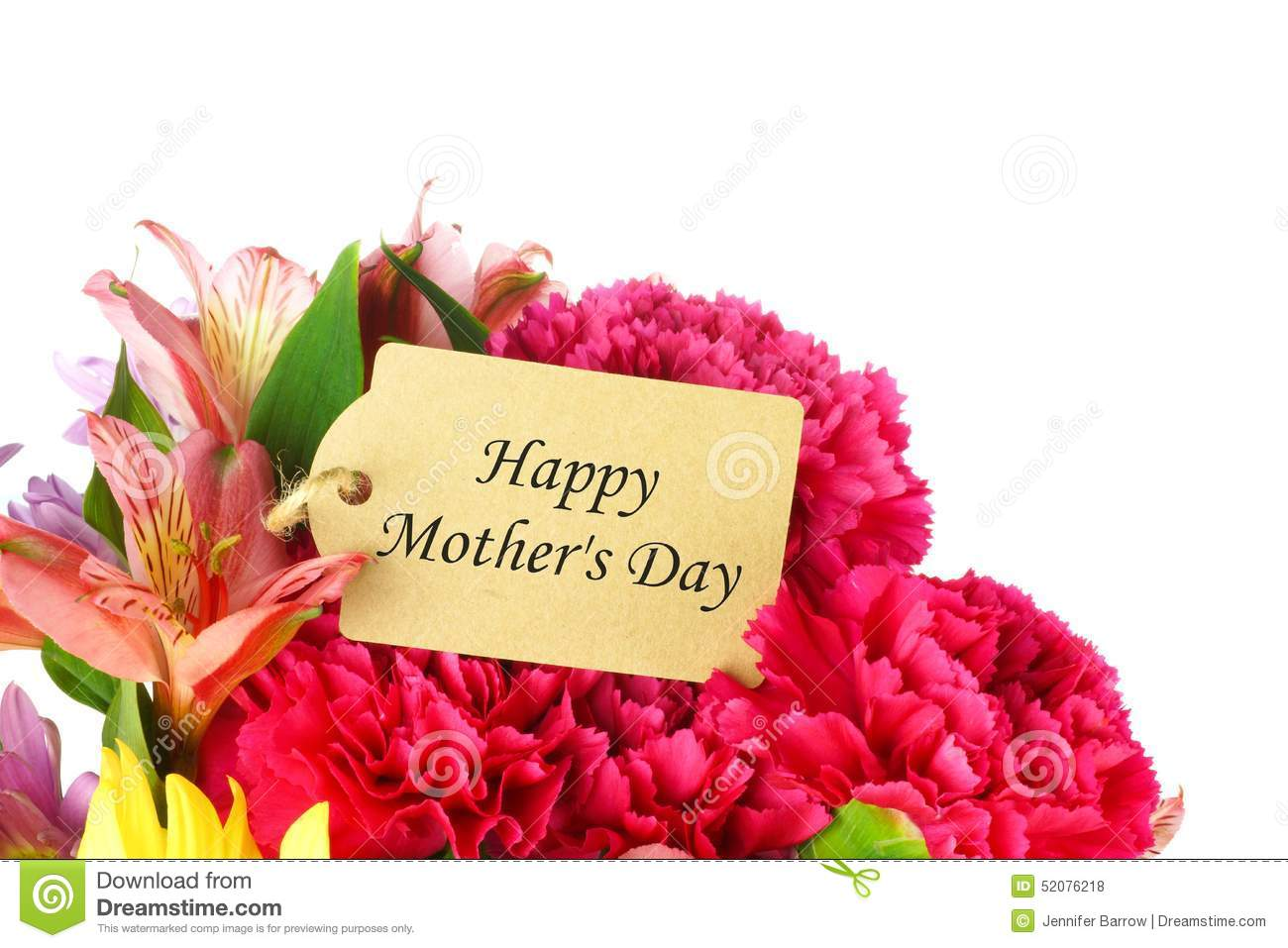 Happy Mothers Day Tag In Flower Bouquet Stock Photo Image Of