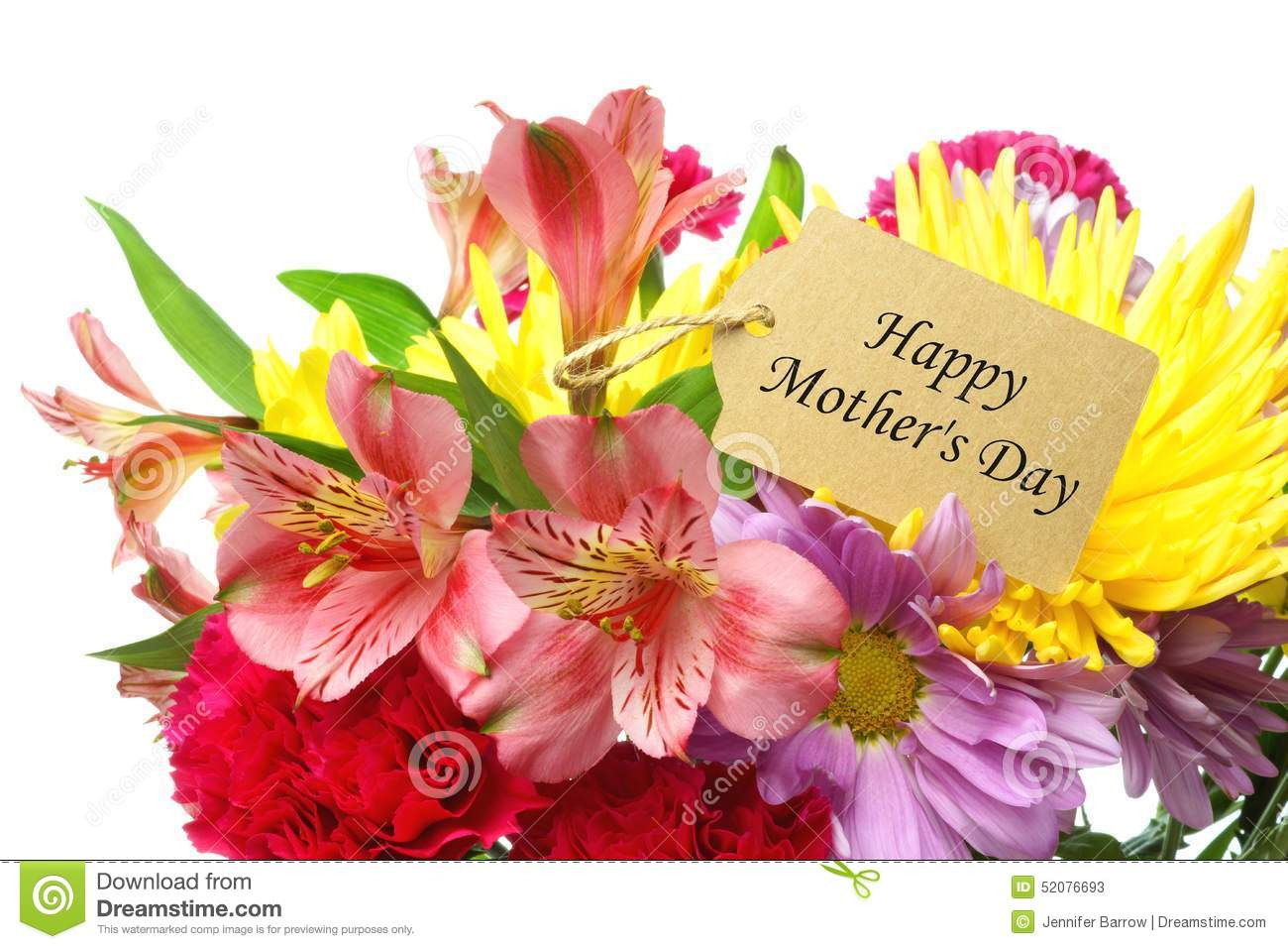 Happy Mothers Day Tag In Flower Bouquet Stock Image Image Of