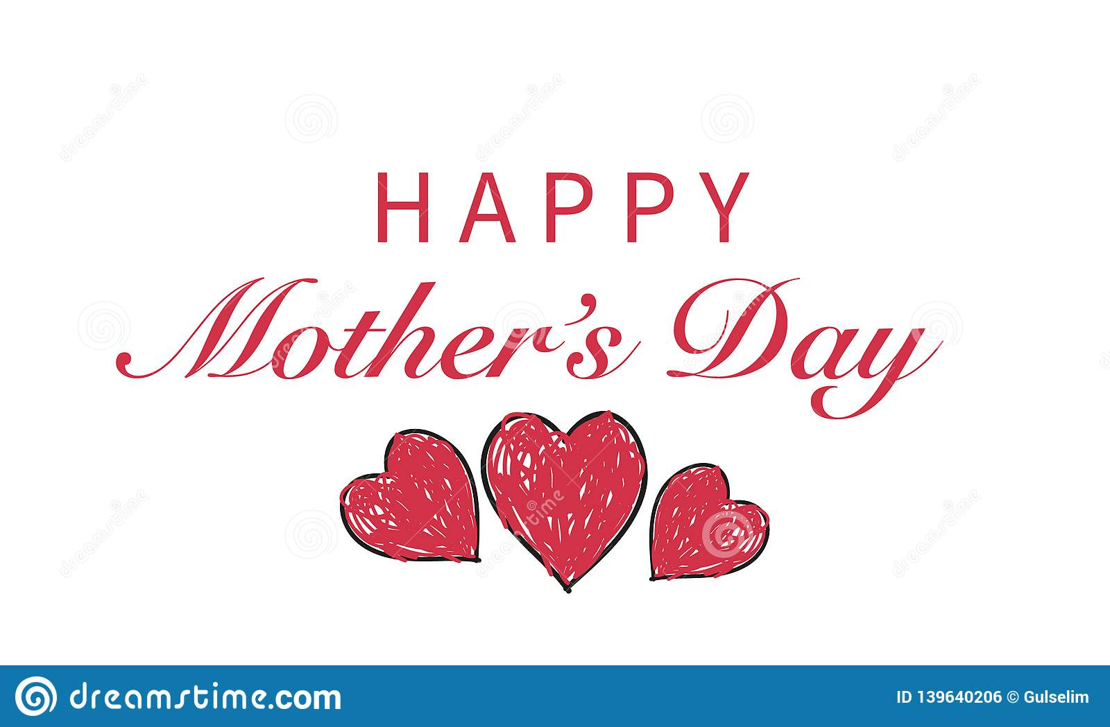 ``Happy Mother`s Day`` text with doodle red hearts. Happy Mother`s day greeting card