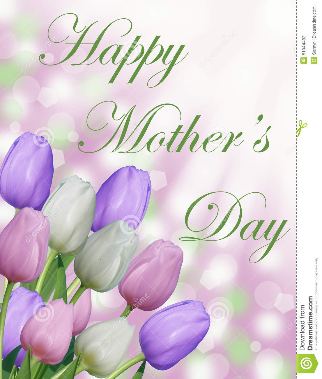 Happy Mothers Day Text With Pink Purple And White Tulips And