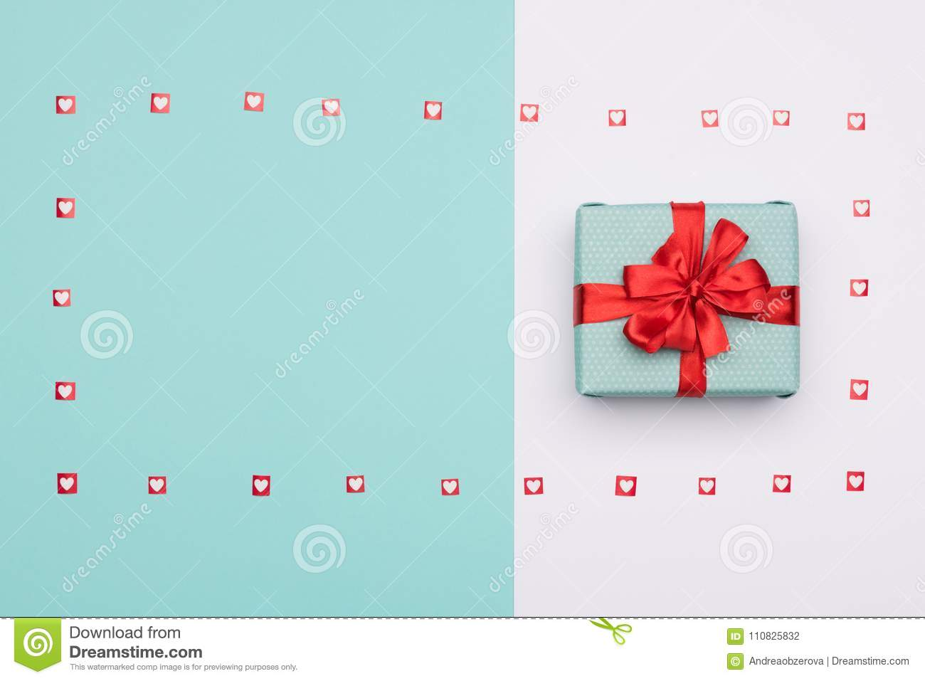 Happy Mother`s Day, Women`s Day, Valentine`s Day or Birthday Background. Pastel Blue Candy Colour flat lay web banner.