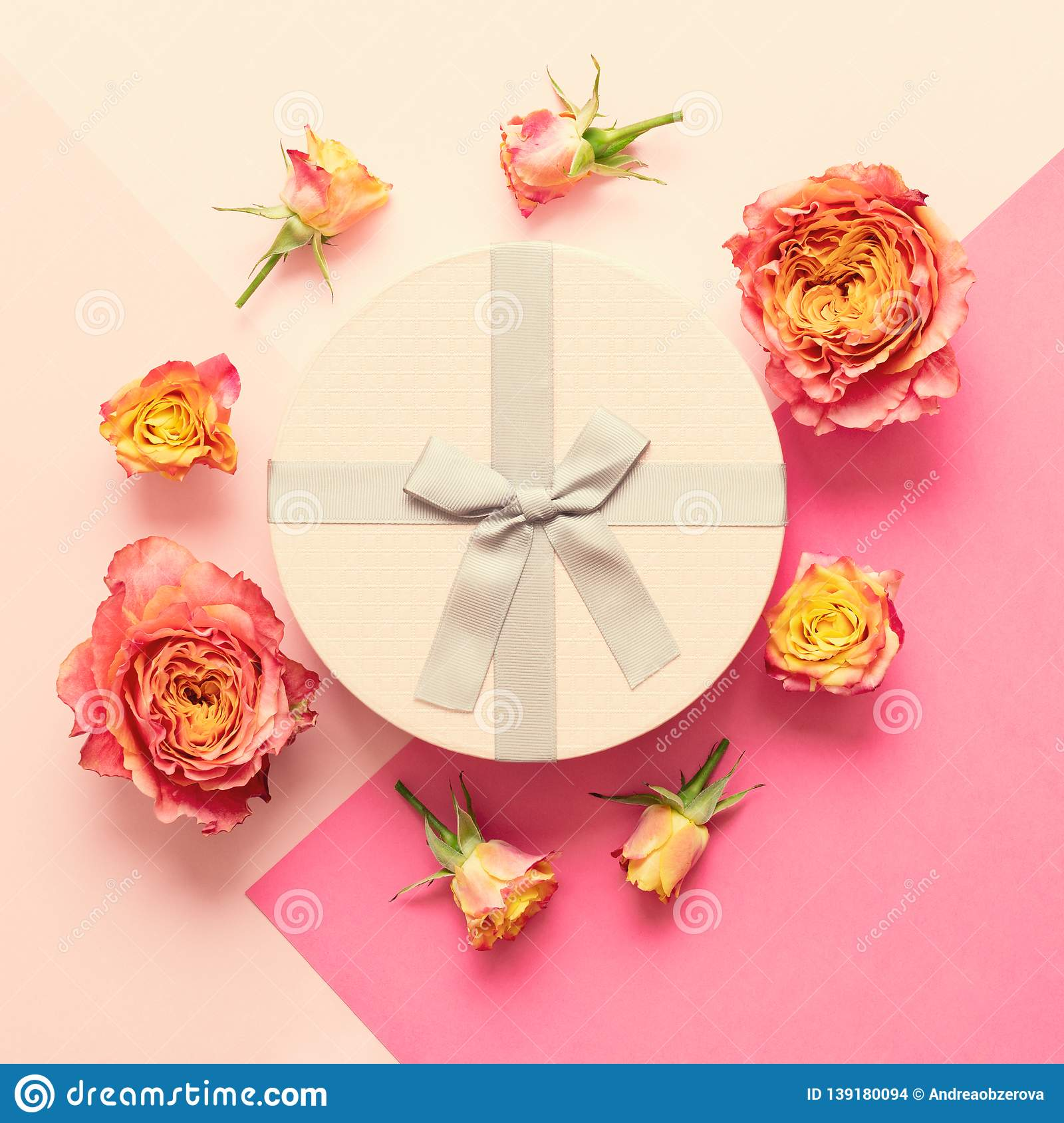 Happy Mother`s Day, Women`s Day, Valentine`s Day or Birthday Living Coral and Pastel Pink Background. Flat lay greeting card.