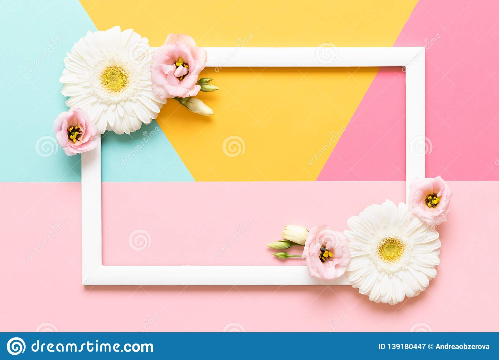 Happy Mother`s Day, Women`s Day, Valentine`s Day or Birthday Pastel Colored Background. Flat lay mock up greeting card.