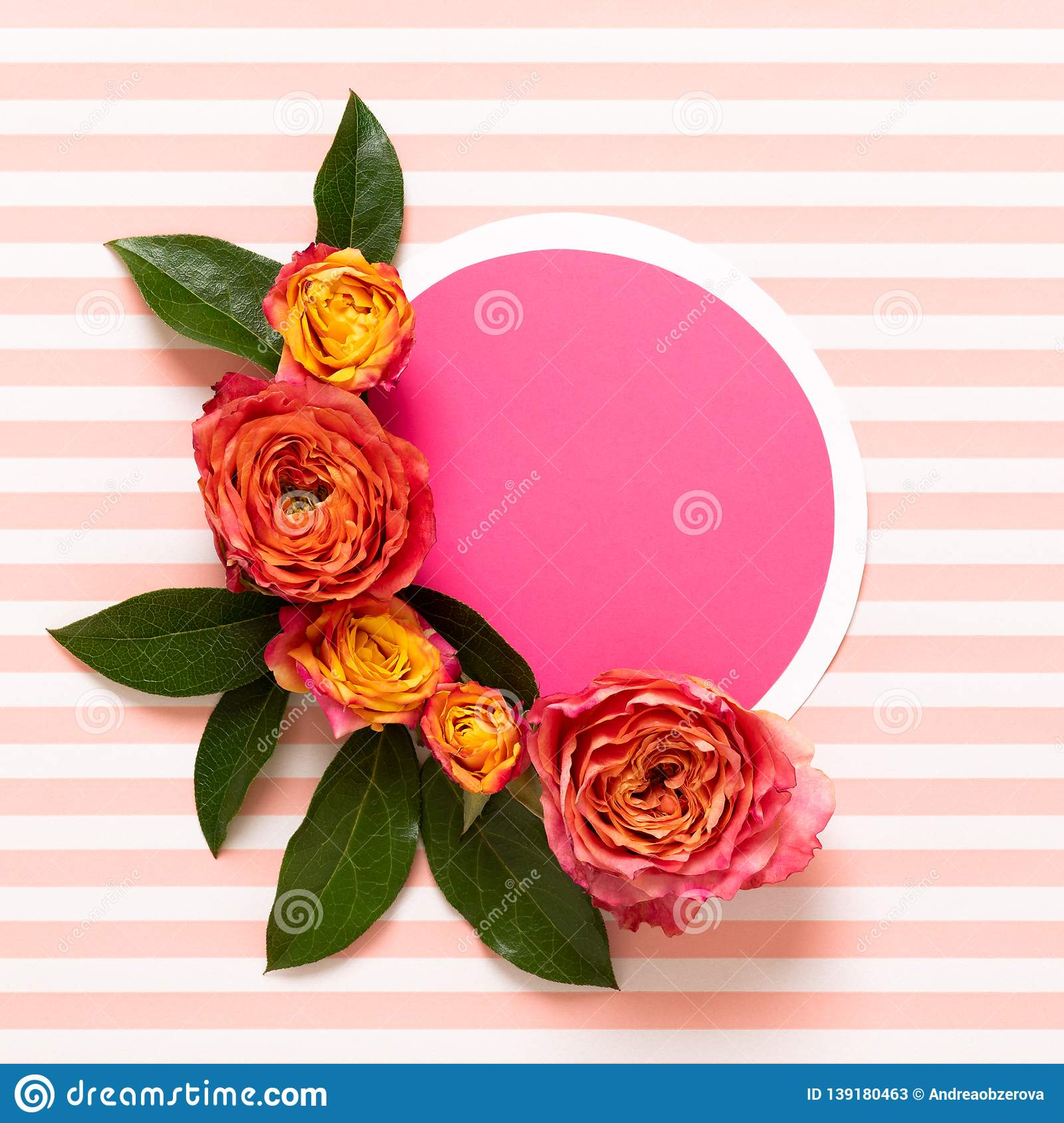 Happy Mother`s Day, Women`s Day, Valentine`s Day or Birthday Pastel Pink and Living Coral Background. Floral flatlay greeting card