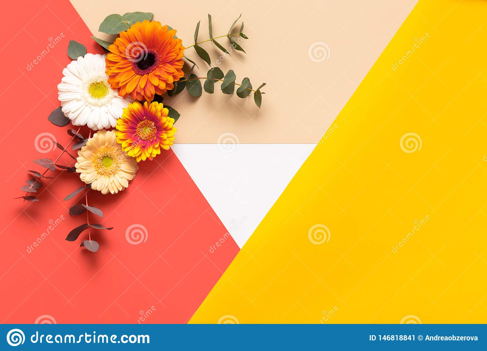 Happy Mother`s Day, Women`s Day, Valentine`s Day or Birthday Living Coral Pantone Color Background. Coral flat lay greeting card.
