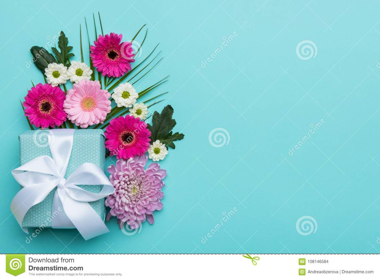 Happy Mother`s Day, Women`s Day, Valentine`s Day or Birthday Pastel Candy Colours Background. Floral flat lay greeting card