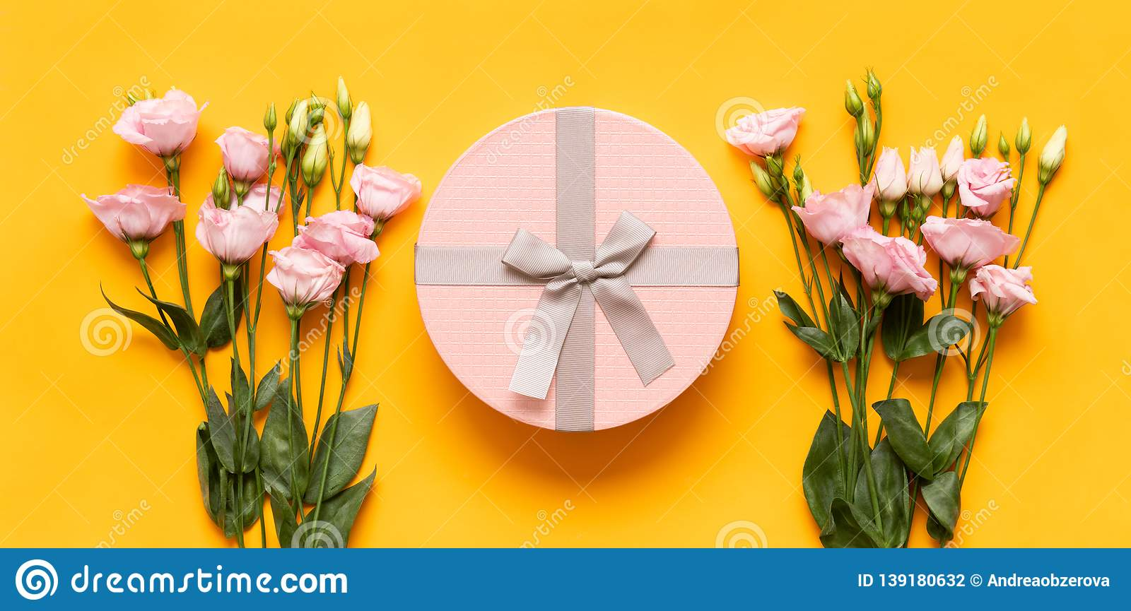 Happy Mother`s Day, Women`s Day, Valentine`s Day or Birthday Yellow and Pastel Pink Colored Banner. Flat lay greeting card.