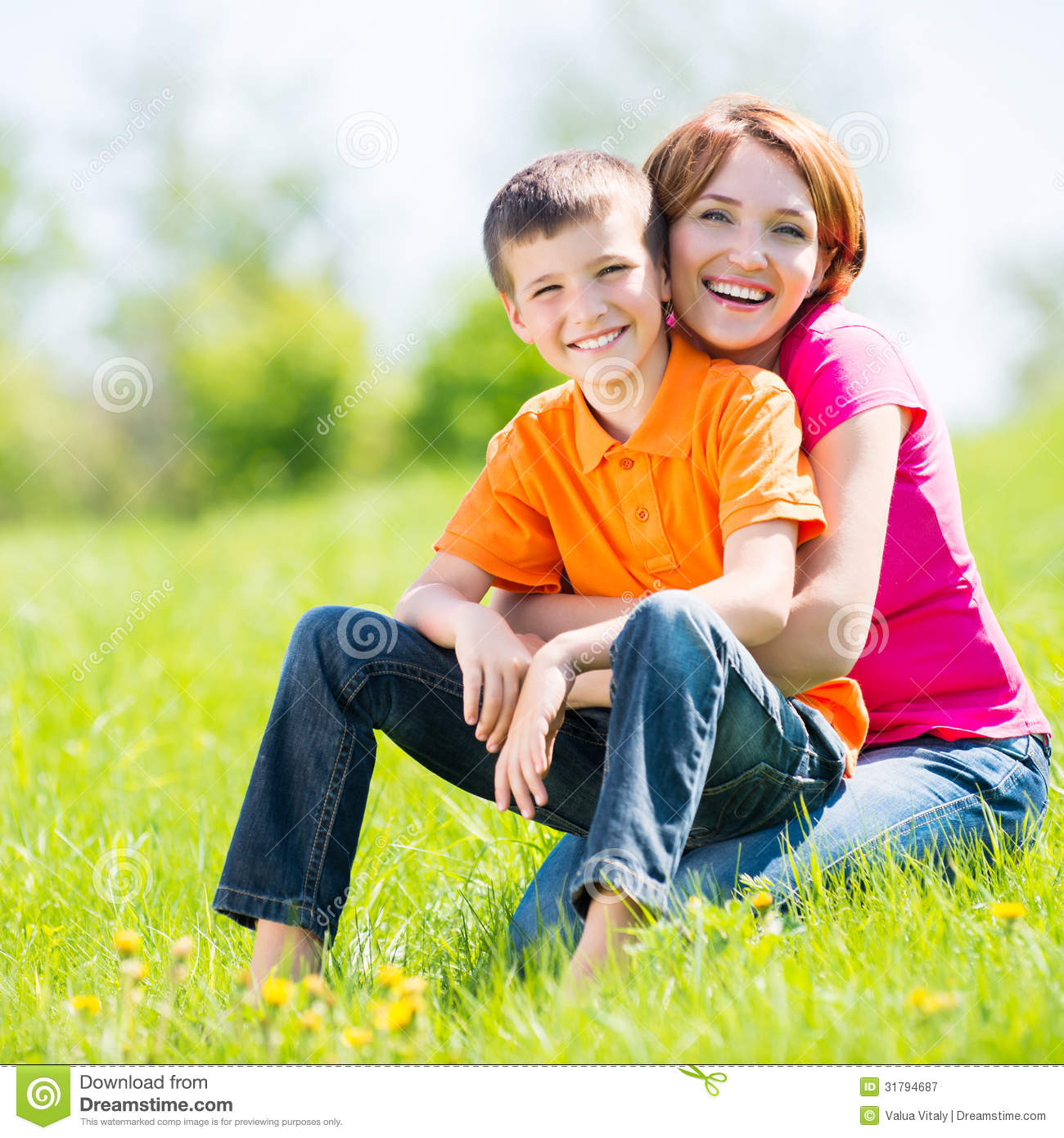 happy mother and son outdoor portrait stock image image 31794687. Black Bedroom Furniture Sets. Home Design Ideas