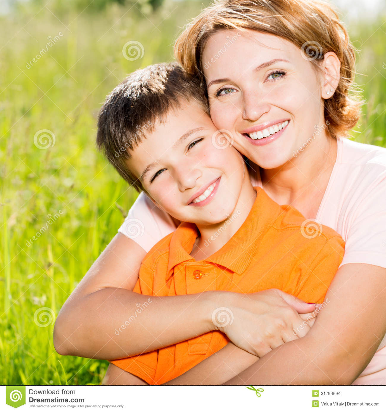 happy mother and son outdoor portrait stock images image 31794694. Black Bedroom Furniture Sets. Home Design Ideas