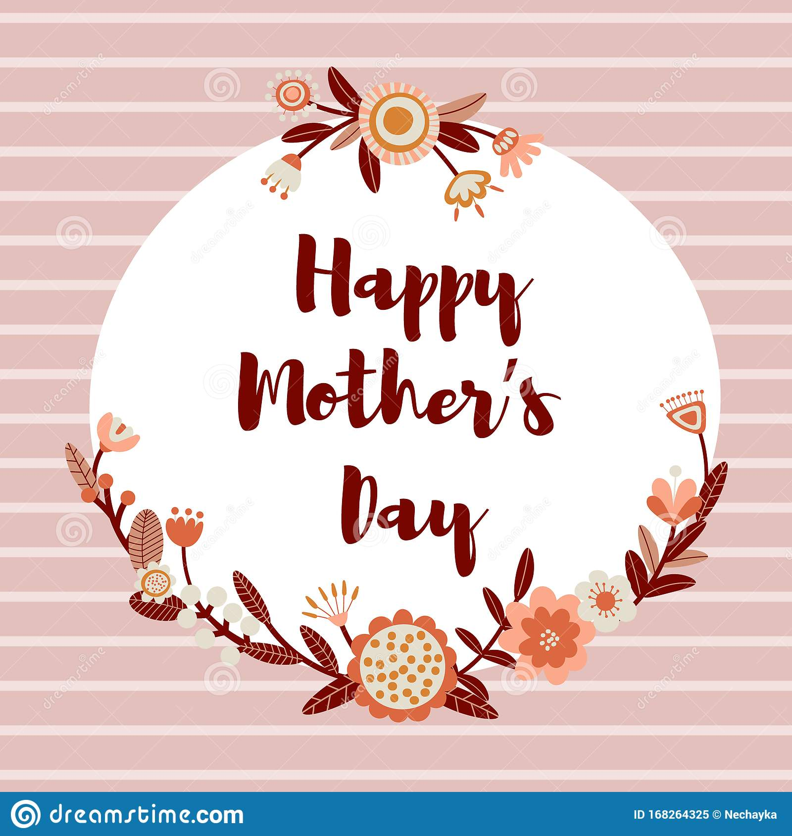 Happy Mothers Card Background With Cute Folk Flowers Floral Printable Banner With Text Cartoon Flat Illustration Stock Vector Illustration Of Card Cute 168264325