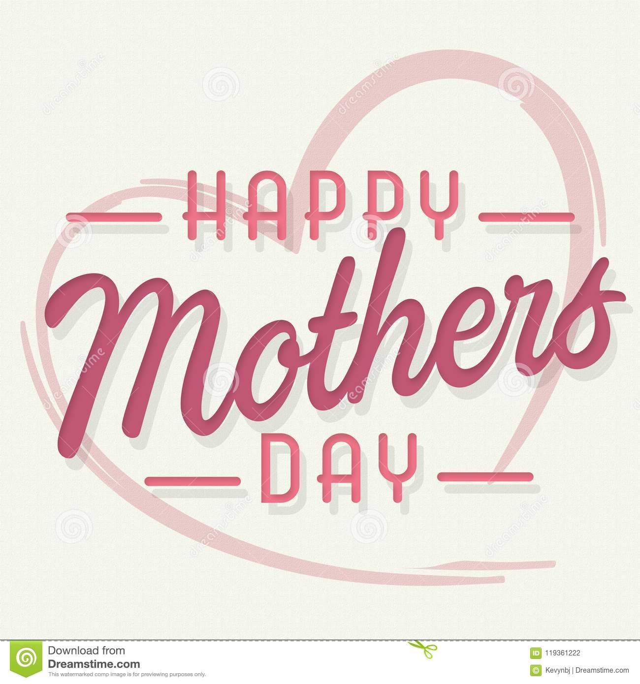 Happy Mothers Day Art Card with Heart Pink