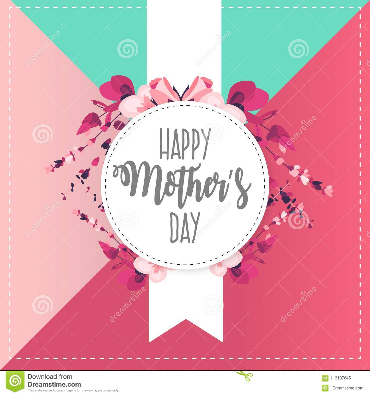 Happy Mothers Day Banner With Cute Flowers