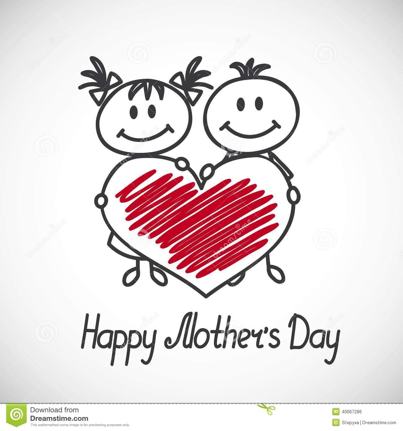 Boy and girl with big heart (cartoon doodle). Happy mothers day card.