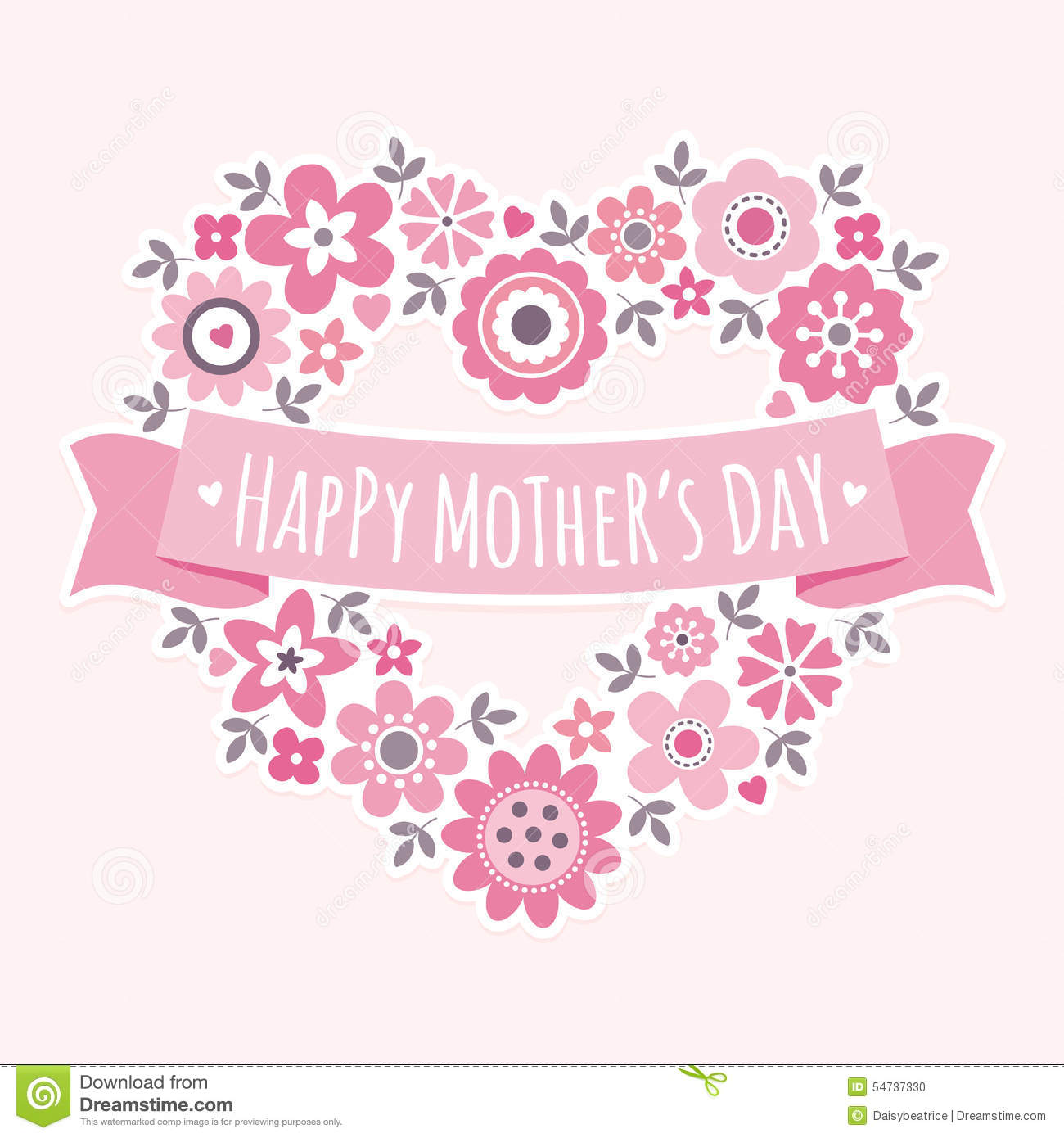 Happy Mothers Day Card Floral Heart Pink Stock Vector - Illustration ...