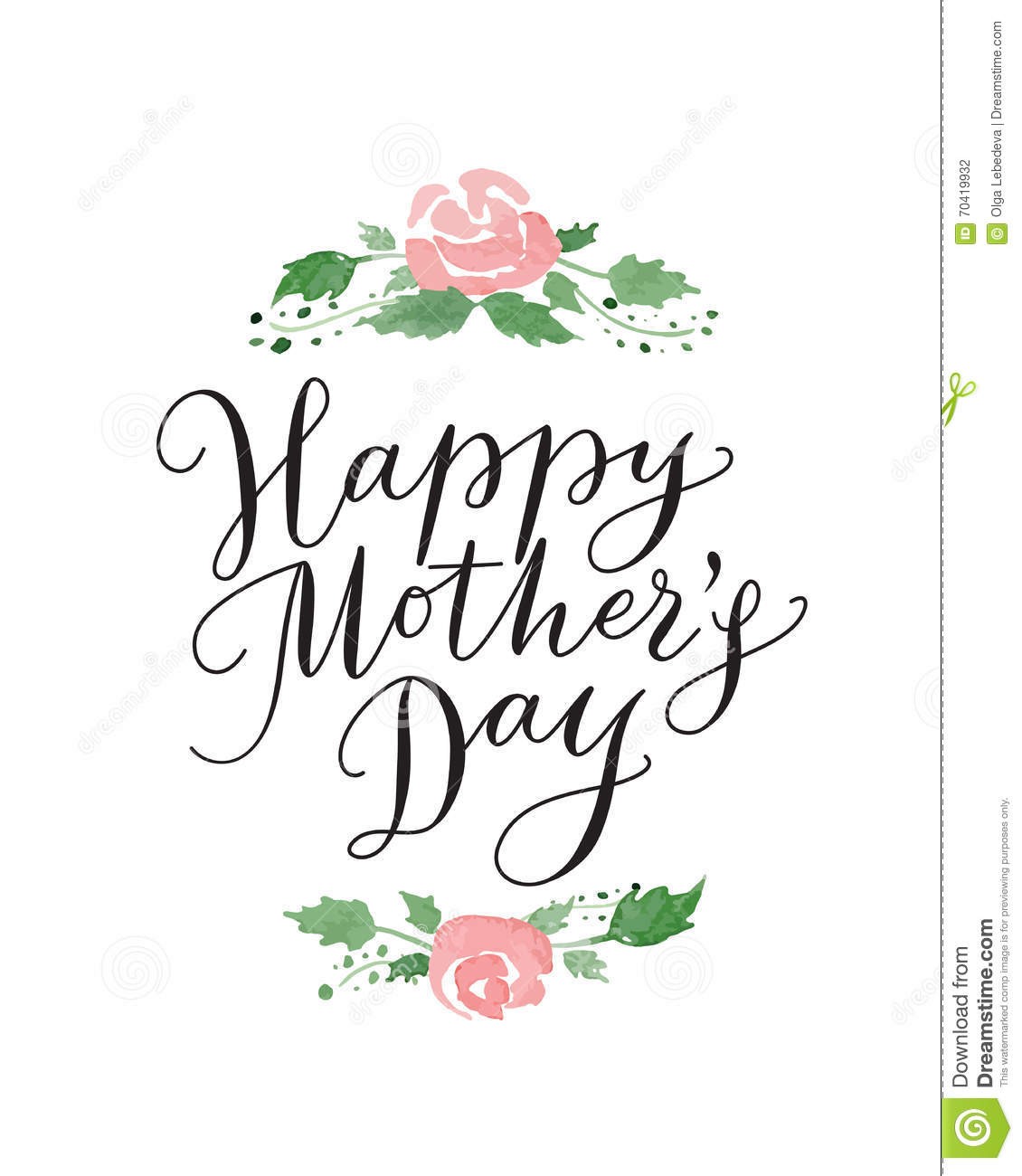 happy mothers day card with hand drawn text and flowers. Black Bedroom Furniture Sets. Home Design Ideas