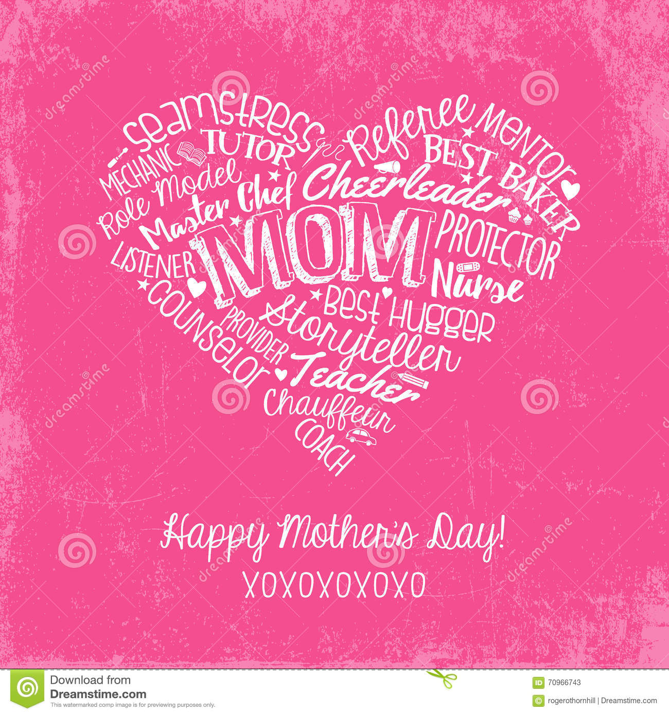 Happy Mothers Day Card With Handwritten Words Stock Vector