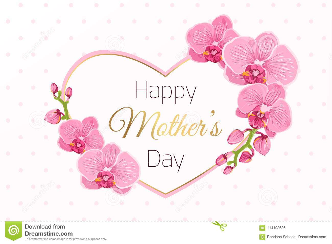 happy mothers day card pink orchid heart frame stock vector