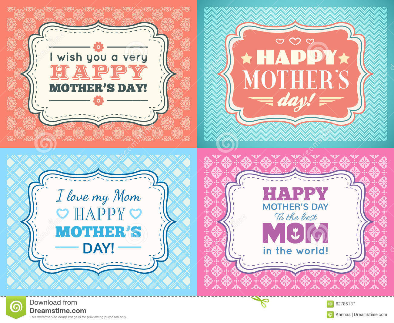 Happy Mothers Day Card Set. Typography Letter Font Stock Illustration ...