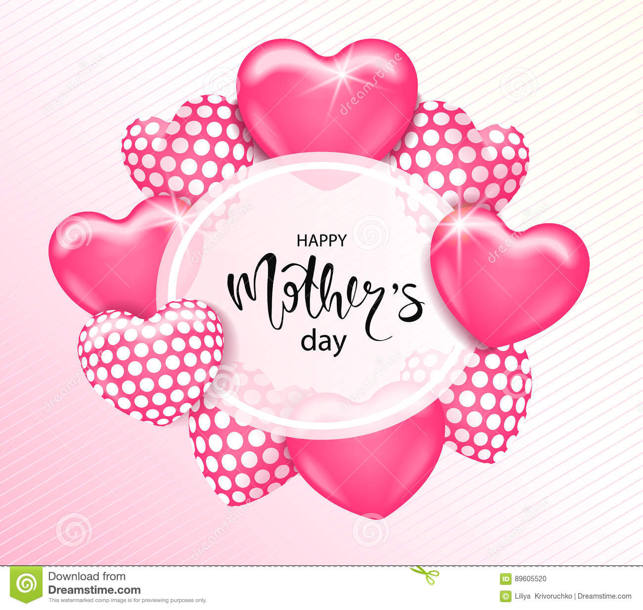 Mothers Day Storewide Sale Template: Happy Mothers Day Card Template With Cute Pink Heart