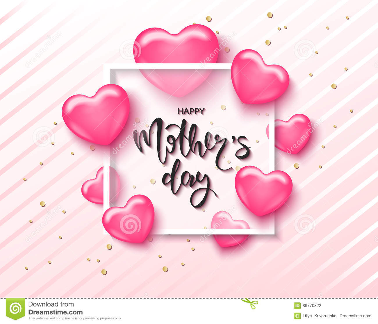 Mothers Day Storewide Sale Template: Happy Mothers Day Card Template With Cute Pink Heart With