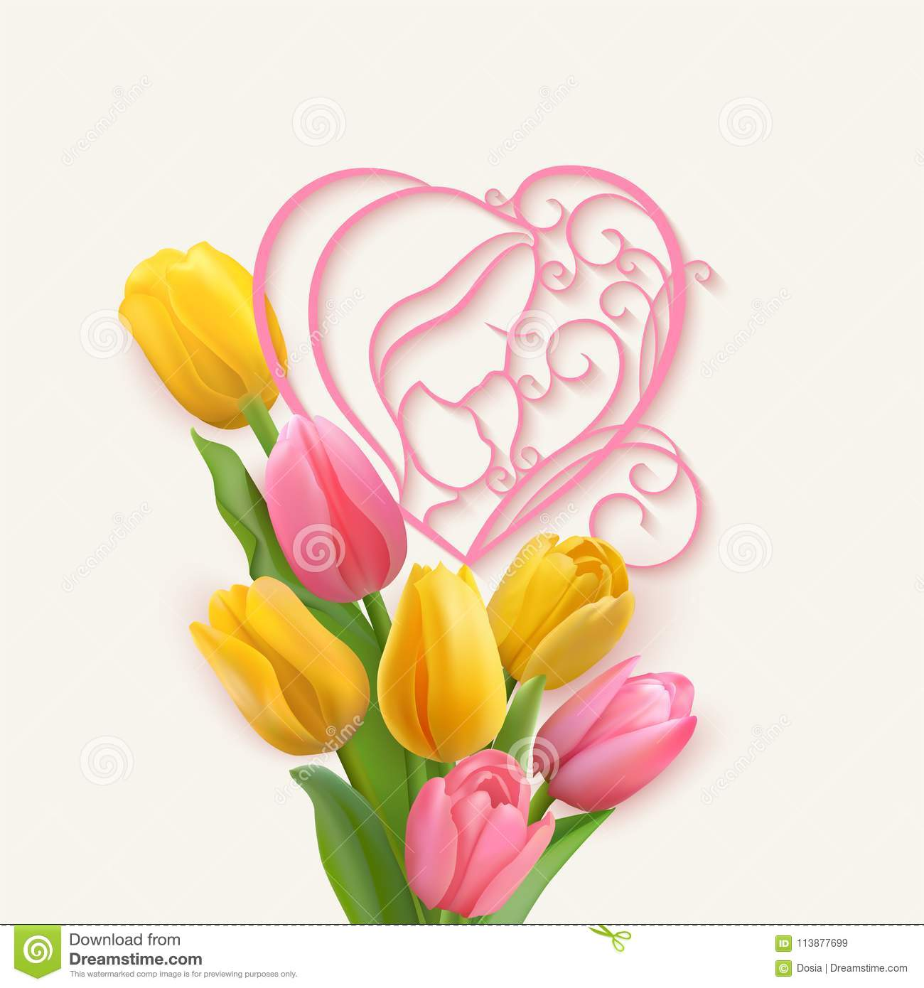 5bcfb12a421df Pink lines with shadow and bouquet of pink and yellow tulips. Vector floral  ornament and photo realistic delicate flowers.