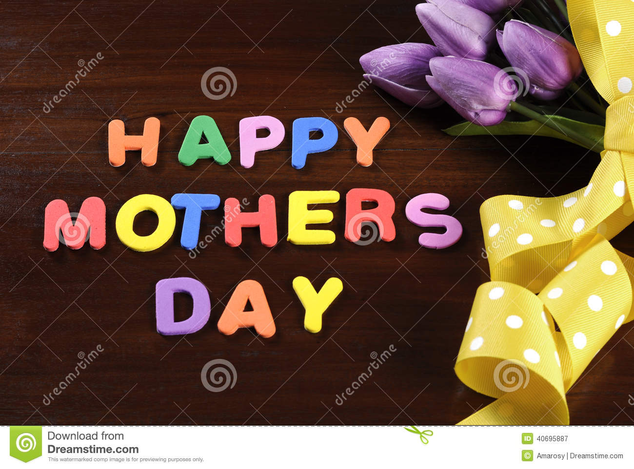 Stock Photo: Happy Mothers Day childrens toy block colorful letters ...