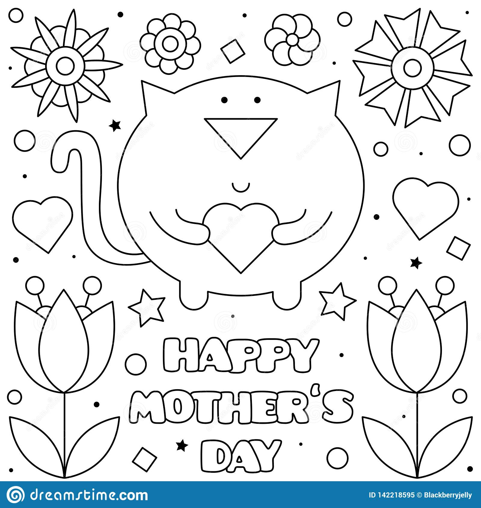 happy mothers day coloring page vector illustration cat black white