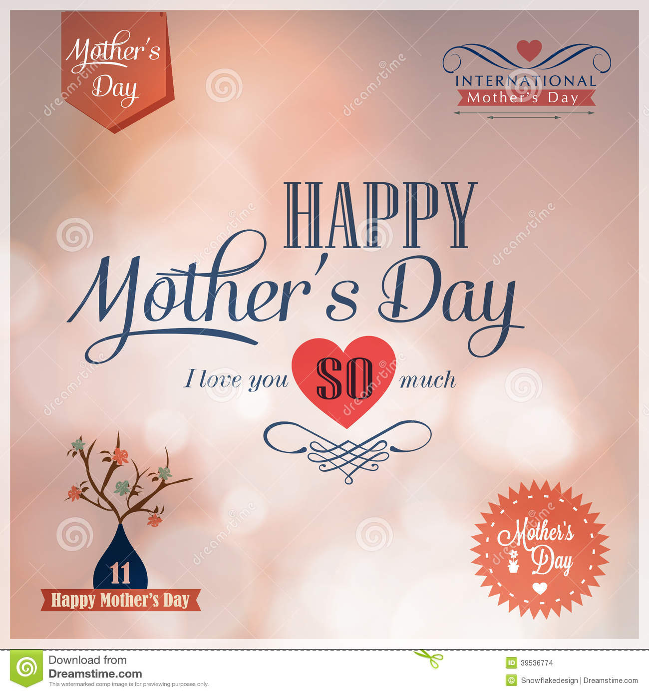 Happy Mothers Day Design Elements Stock Vector Image