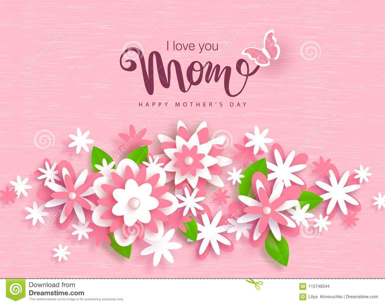 Happy Mothers Day Greeting Card Design With Beautiful Paper Flowers