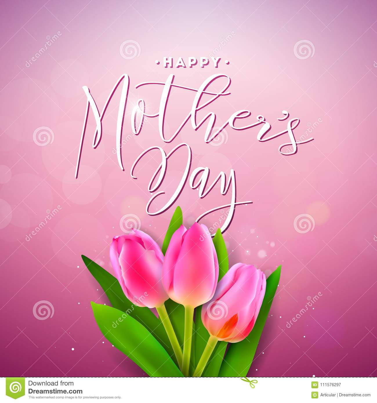 Pink Mothers Day Flyer Template For Free Download On Pngtree: Happy Mothers Day Greeting Card With Flower On Pink