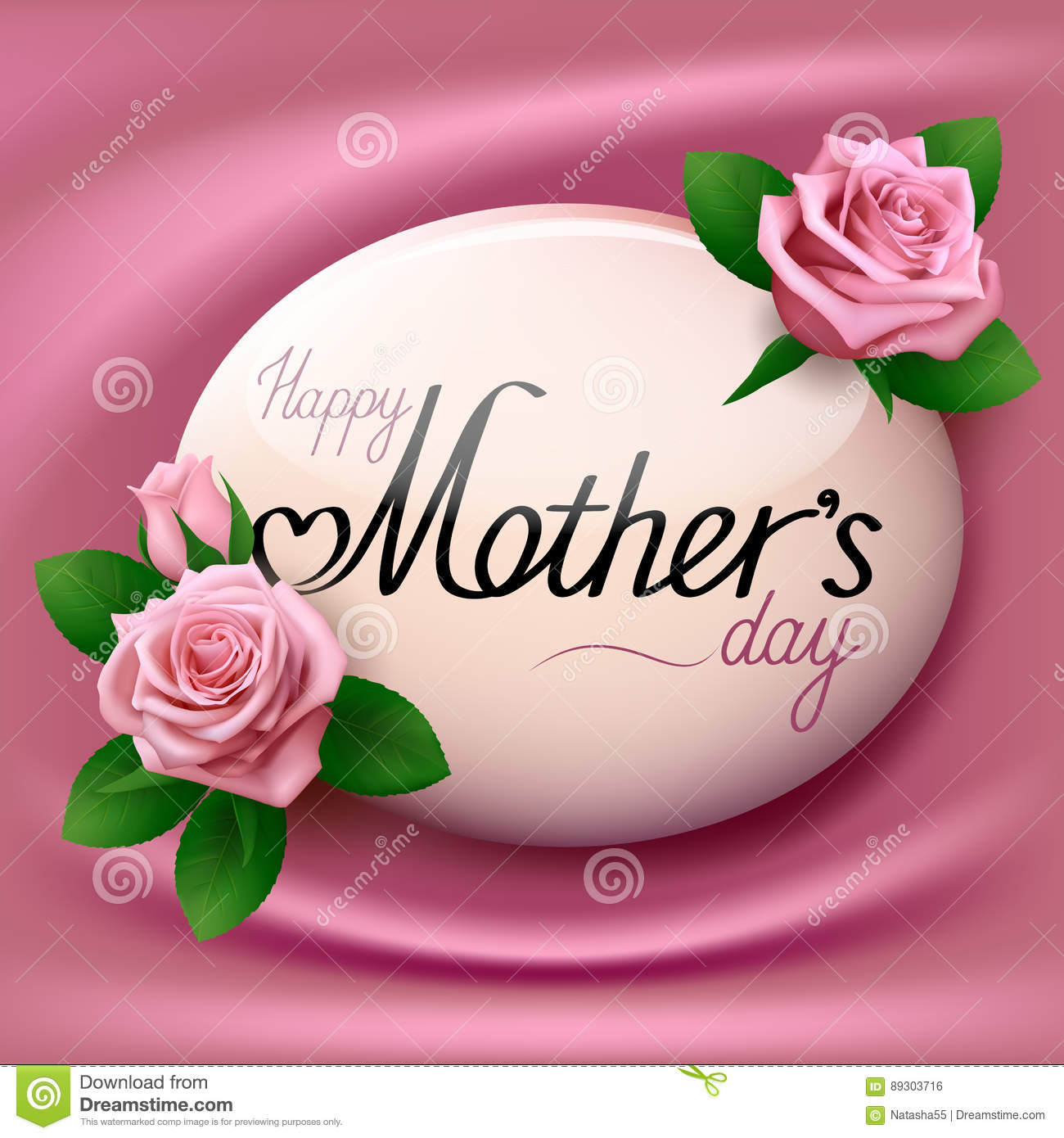 Happy Mother S Day Banner With Pink Roses Cartoon Vector