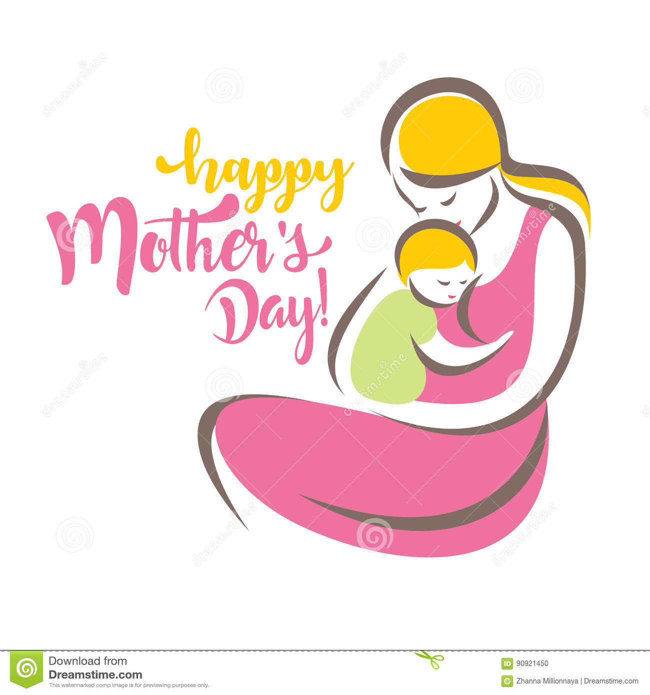 Happy Mothers Day Greeting Card Template Stock Vector - Illustration ...