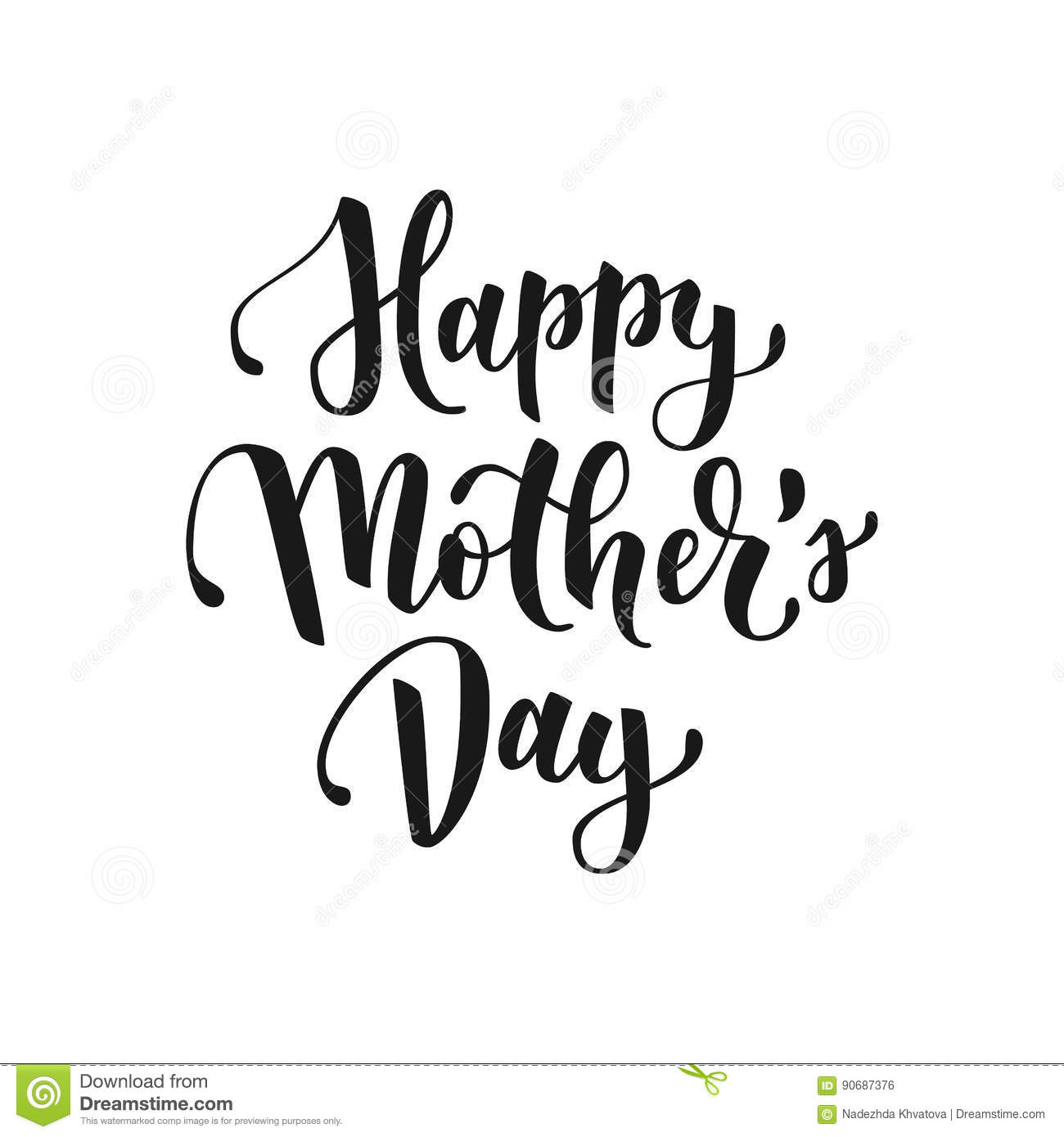 Happy mothers day hand drawn lettering for greeting card or banner royalty free vector download m4hsunfo Gallery