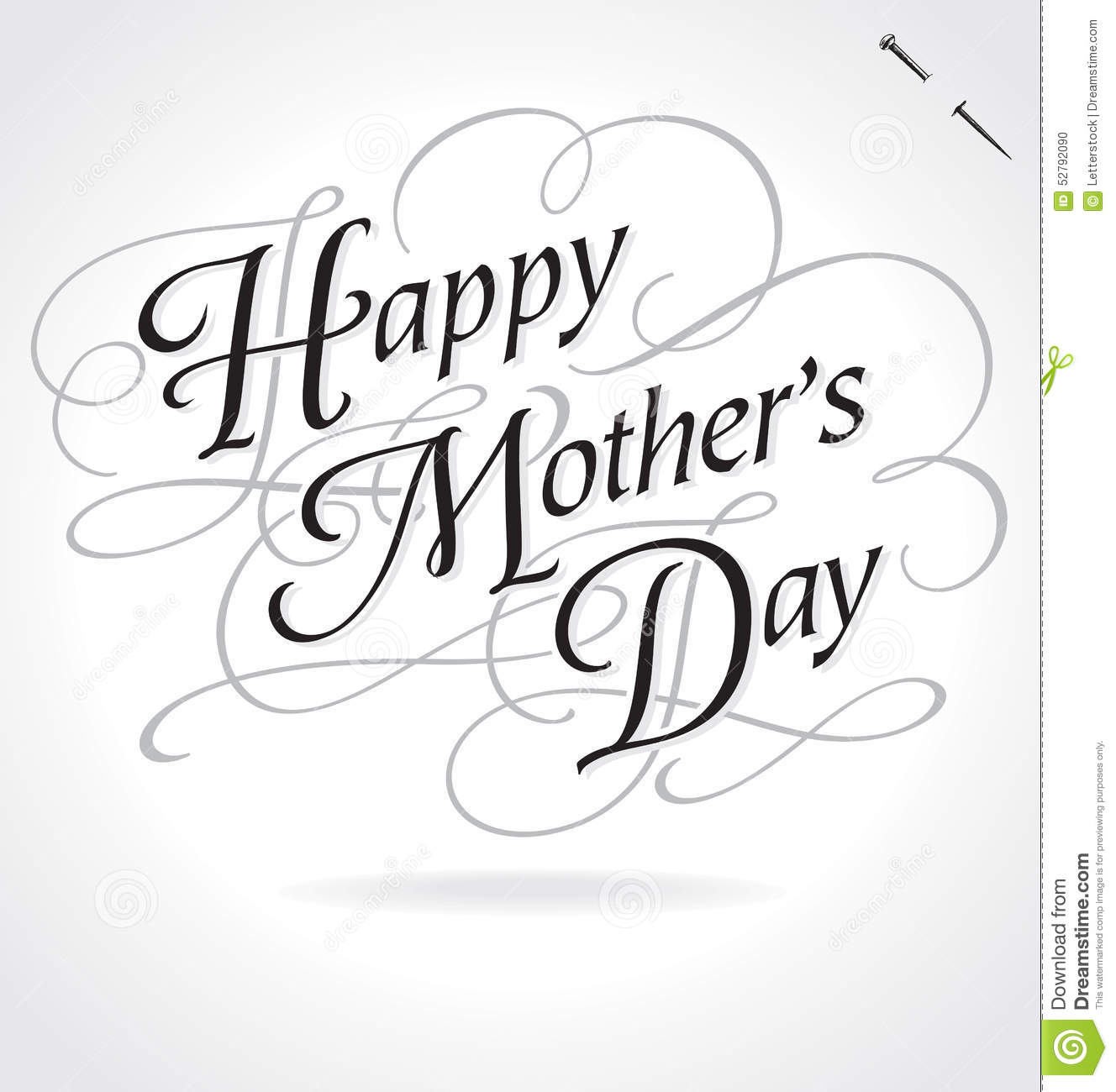 HAPPY MOTHERS DAY hand lettering -- ornate greeting, vector (eps8).