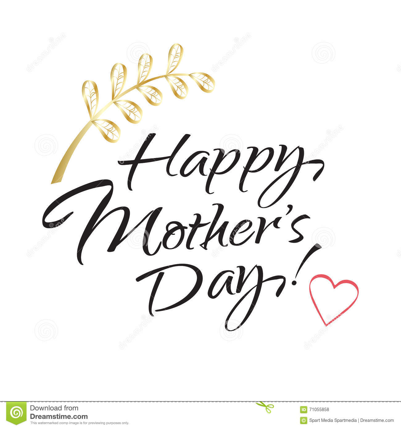 Happy Mothers Day Lettering Stock Vector Image 71055858