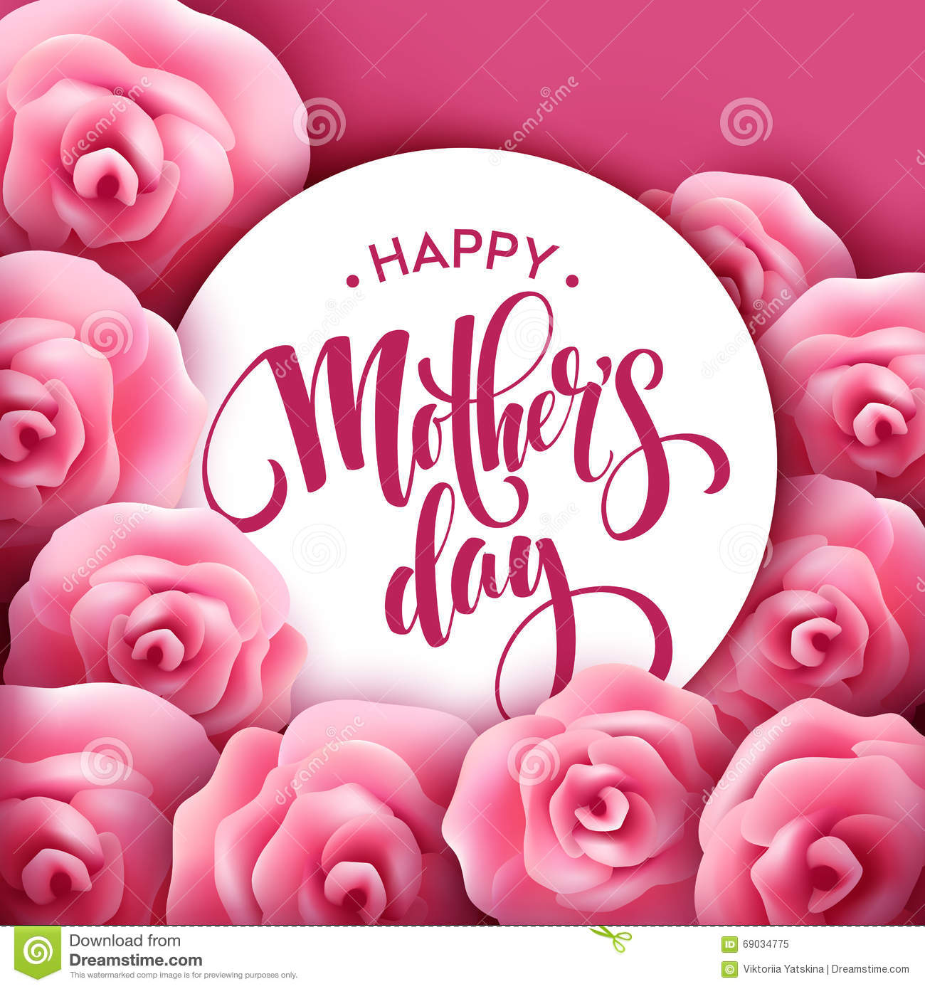 Happy mothers day lettering mothers day greeting card with blooming happy mothers day lettering mothers day greeting card with blooming pink rose flowers vector m4hsunfo