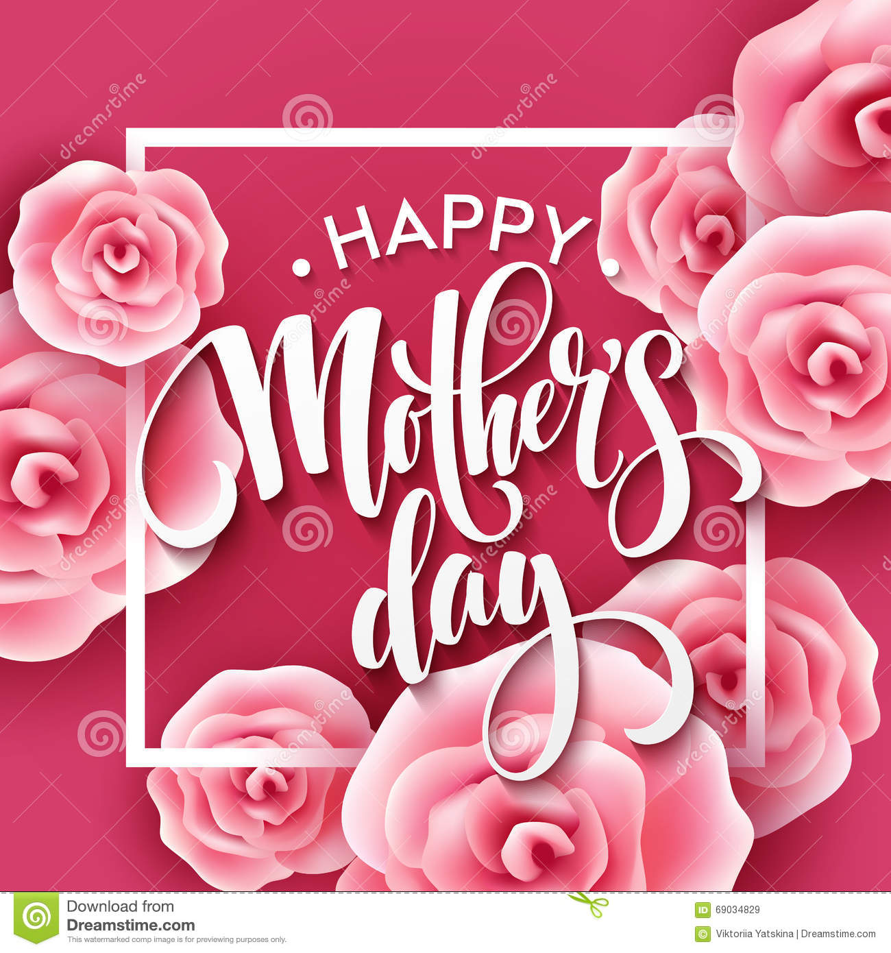 Happy Mothers Day Lettering. Mothers Day Greeting Card ...