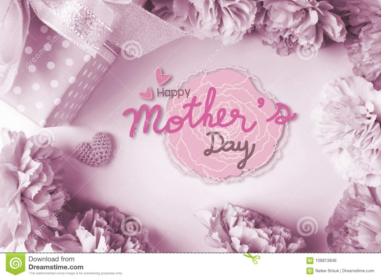 happy mothers day message and carnation flowers and gift box stock