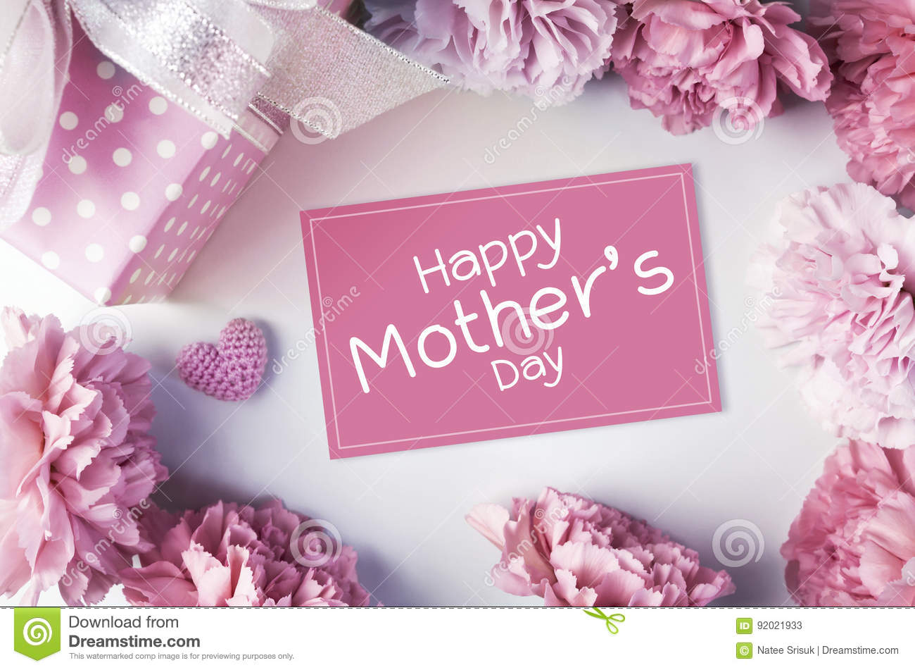 Happy mothers day message on pink paper and carnation flowers an happy mothers day message on pink paper and carnation flowers an mightylinksfo