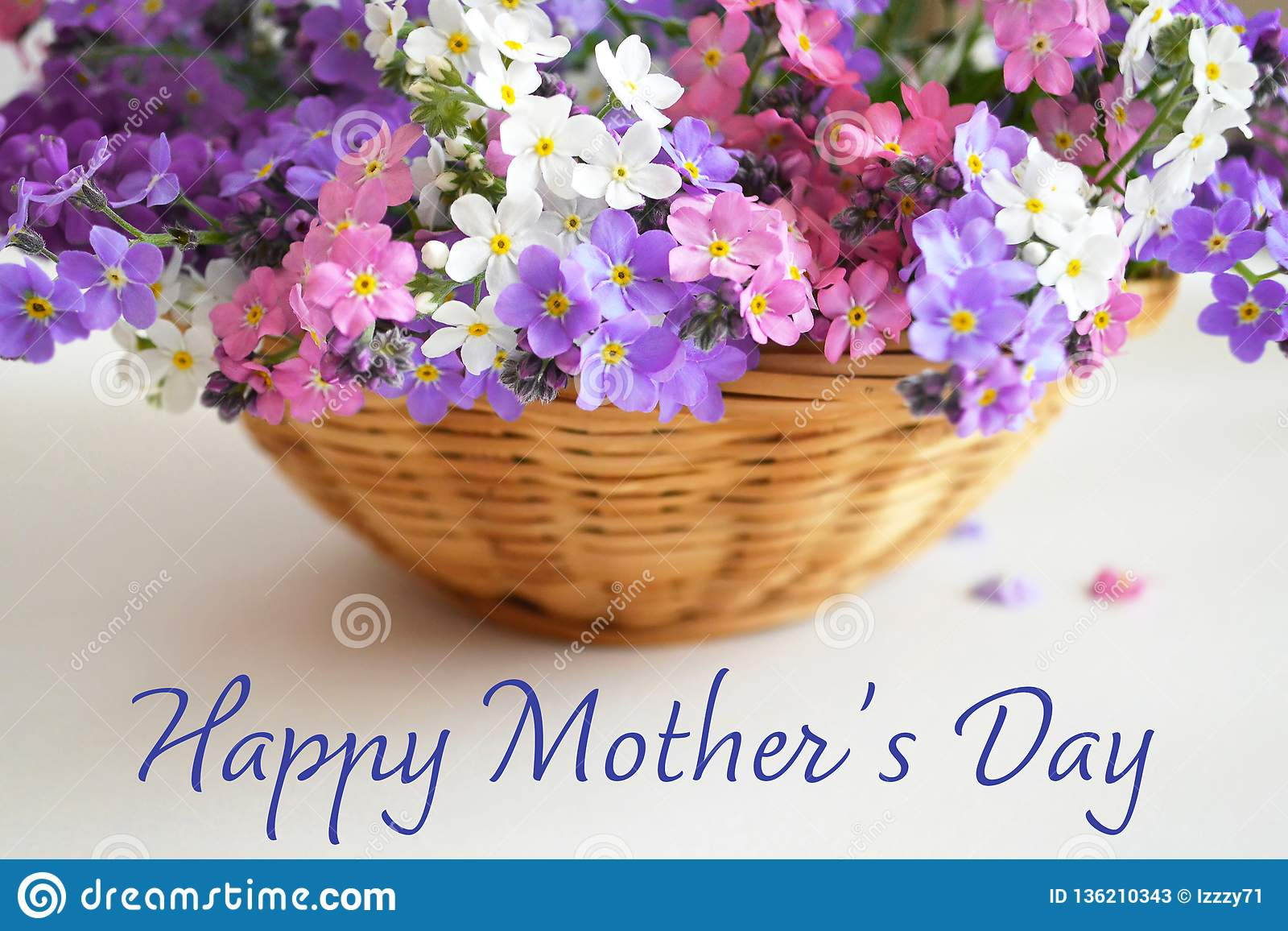 Happy Mothers Day. Mothers Day flowers in the basket