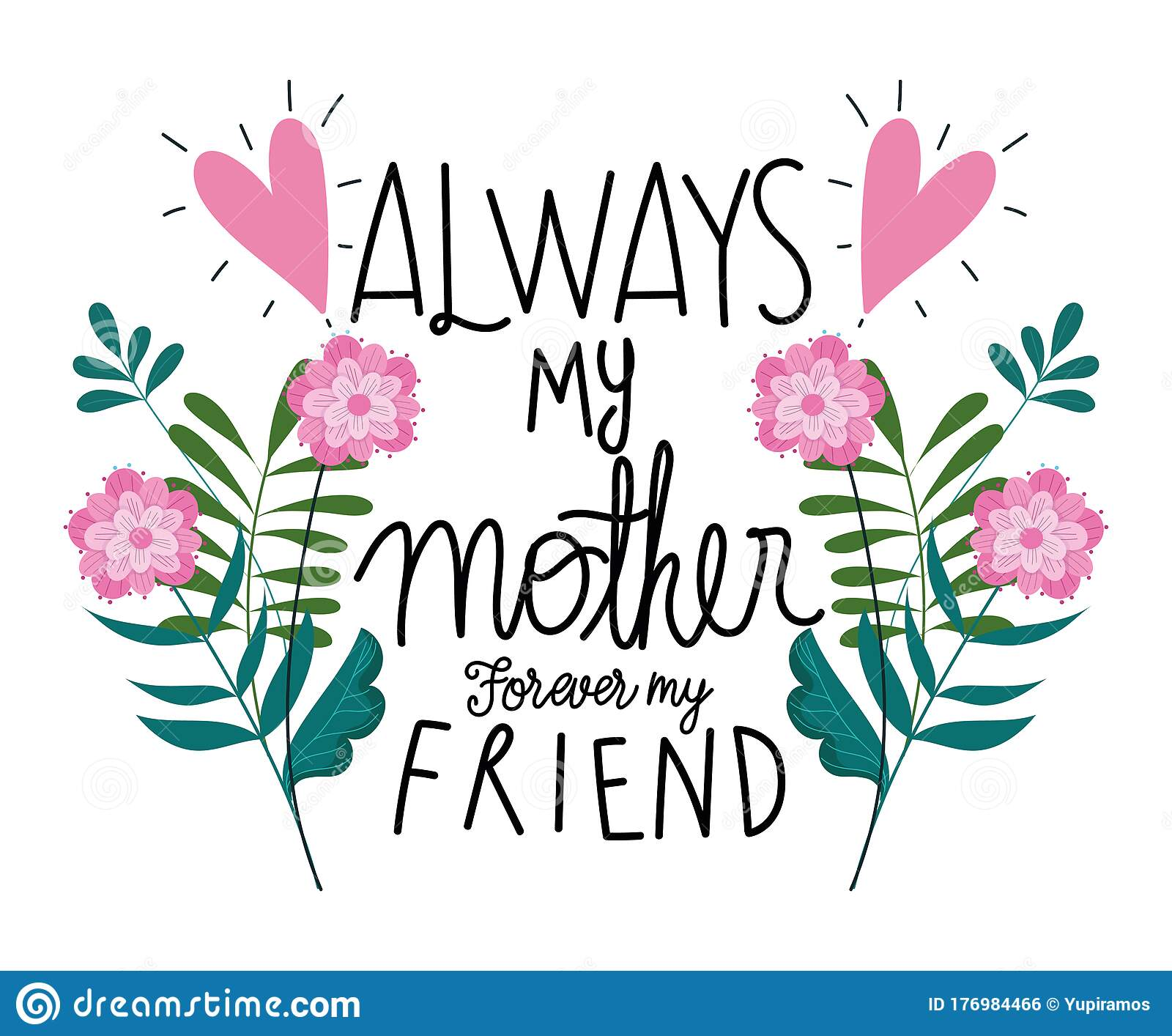 Happy Mothers Day Always My Mother Forever My Friend Flowers Card