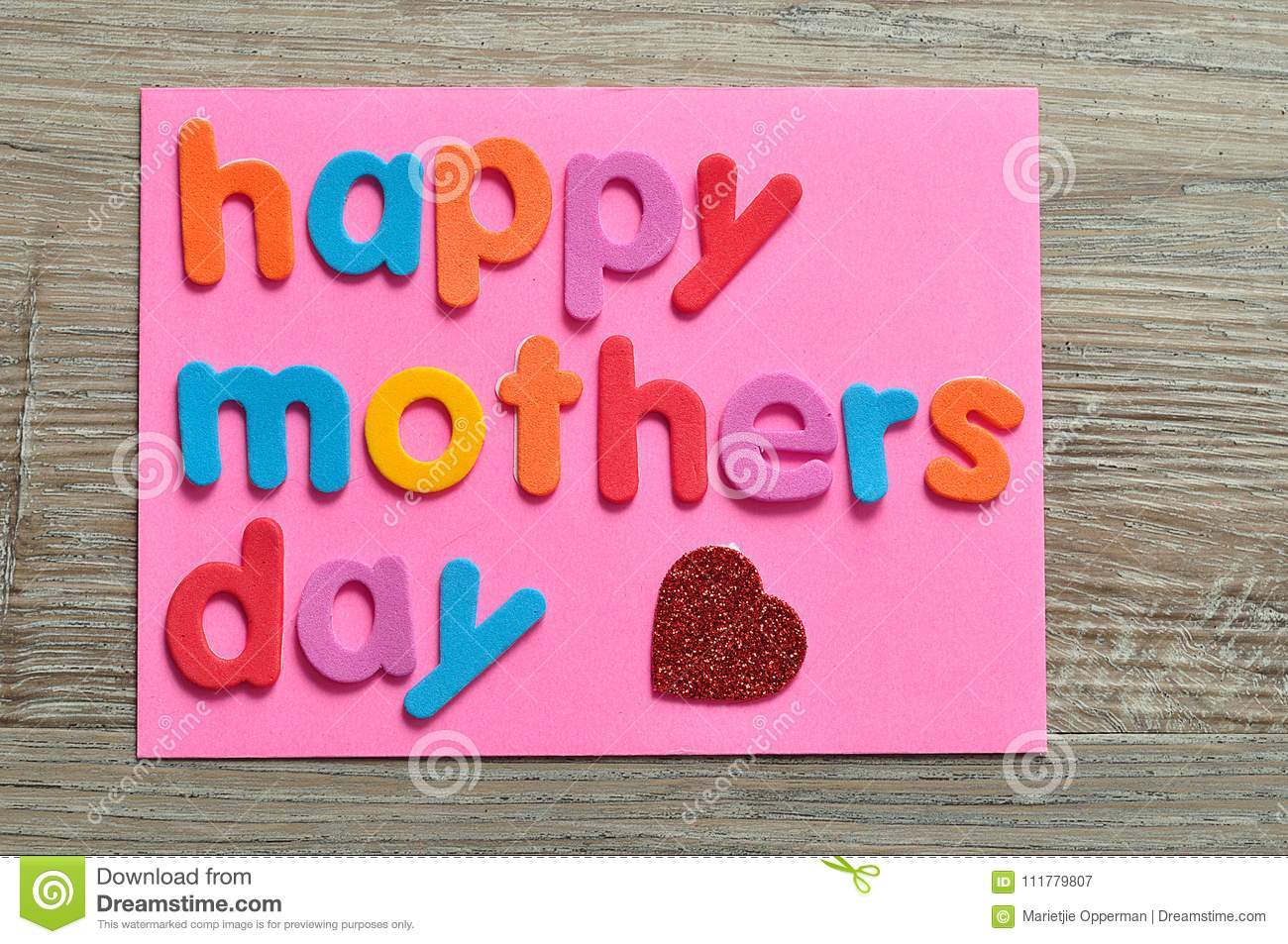 Happy mothers day on a pink note with a red heart