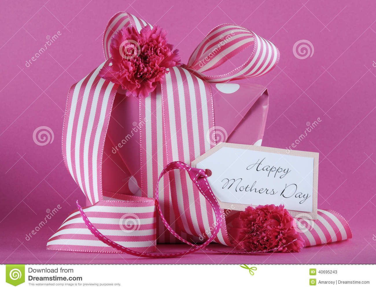 Happy Mothers Day pink polka dot and stripe ribbon gift